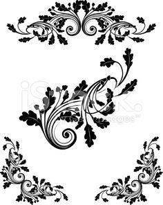 Oak Leaf Scrollwork royalty-free stock vector art
