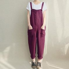 2018 ZANZEA Women Strappy Bib Overalls Pockets Summer Cotton Linen Long  Jumpsuits Casual Solid Dungarees Loose 3335039afb7c