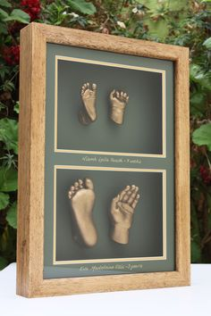 Hand & Foot Casts of siblings together, a beautiful heirloom for mum and dad to remember when one was small and the other even smaller! By Babyprints.co.uk