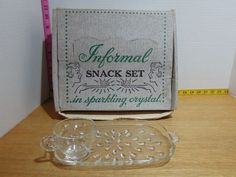 Vintage 8 Piece Informal Snack Set In Sparkling Crystal With Original Box MIB Dish Sets, Glass Collection, Sparkle, Pottery, Snacks, The Originals, Crystals, Box, Vintage