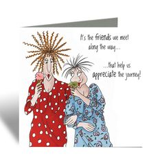 Friends we meet along the way Card - Camilla & Rose Blank Greeting Card, Cards For Friends, Best Friend Card New Baby Cards, Your Cards, Vintage Cards, Retro Vintage, Funny Cards For Friends, Camilla Rose, Coffee With Alcohol, Flamingo Birthday, Card Sayings