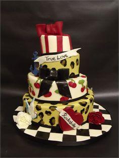 Chocolate fudge wedding cake with a Rockabilly Theme.