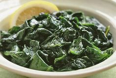 Steamed spinach, cooked in mere minutes, is tossed with heart-healthy olive oil in this easy side dish. Steamed Spinach, Asparagus Soup, Steamed Vegetables, Asparagus Recipe, Steamed Food, Veggies, Spinach Recipes, Lemon Recipes, Vegetable Recipes