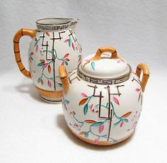 Vintage Japanese Majolica Pottery Creamer Pitcher & Sugar Bowl Set with Floral Blossoms from Woodstock Antiques