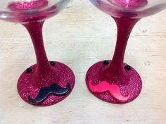 Wedding Mustache Wine Glass Toasting Set His by MaidenLongIsland