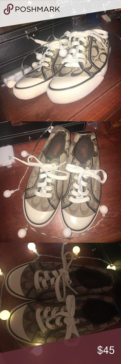 Authentic Coach Shoes These are a size 5 authentic coach shoe. Worn a few times, show little signs of wear. There is a bleach spot inside the shoe (pictured), it does not affect the wear and the price will be lowered accordingly. Coach Shoes Sneakers