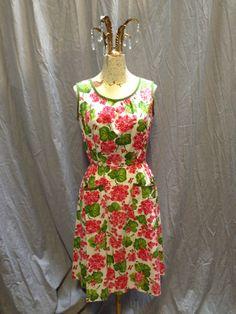 Etsy listing: 50's Swirl Geranium print cotton wrap dress.
