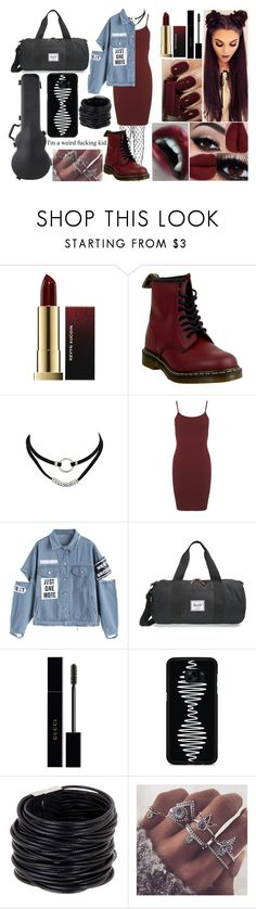 """""""Trapped Between A Door and Three Strangers"""" by dereks-love-child ❤ liked on Polyvore featuring Dr. Martens, Miss Selfridge, Herschel Supply Co., Gucci, Samsung and Saachi"""