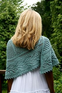 Miss Elliot Shawl. Crescent knit side to side  beautiful lace leaf edging band