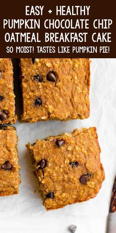Healthy Pumpkin Chocolate Chip Oatmeal Snack Cake – SO good ! It has the same flavor as pumpkin pie! This easy recipe is PERFECT for meal prepping breakfasts & snacks! ♡ easy healthy pumpkin cake recipe from scratch. low calorie clean eating homemade pumpkin cake. simple moist spiced pumpkin cake for breakfast and snacking. Healthy Pumpkin Cake Recipe, Pumpkin Cake Recipes, Healthy Cookies, Cupcake Recipes, Baking Recipes, Whole Wheat Cookies, Whole Wheat Muffins, Low Calorie Baking, Healthy Baking