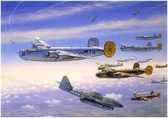 R-Bar Over Bielefeld by Jim Laurier - On 2nd November, 1944, B-24s of the 489th Bomb Group were sent to destroy the railway marshalling yards at Bielefeld Germany. The bomber formation was surprised to encounter the new German jet fighters, the Me262, in one of the earliest jet attacks against U.S. heavy bombers. The jets were chased off by escorting P-47s, and there were no losses on either side
