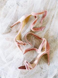 Blush velour ankle strap stilettos: http://www.stylemepretty.com/2017/01/11/real-bride-inspired-by-grace-kelly/ Photography: Branco Prata - http://www.brancoprata.com/