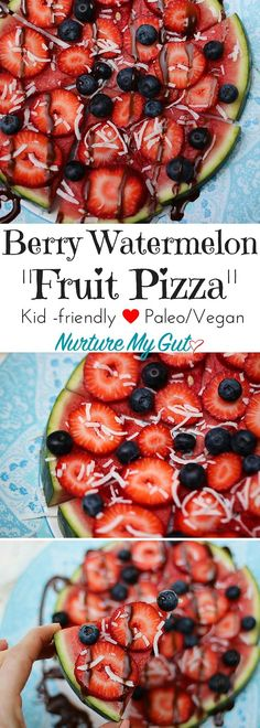 Easy Berry Watermelon Fruit Pizza.  Ready in less than 10 minutes!  Perfect for your summer potluck or a fun kids activity.  Create a watermelon fruit pizza station for your next kids party.  Step by step tutorial.