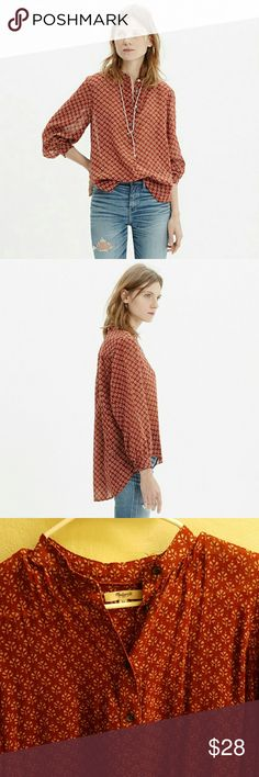 Shirred Popover Shirt in Shadowtree Madewell shirt. Item B9274. Sold out online.  In excellent condition. Peasant printed top. Slightly sheer. Burnt canterbury red color. Popover style. High-low bottom. True to size. Cotton. No flaws. Madewell Tops Blouses