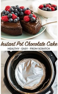 Easy and healthy Instant Pot Cake from scratch! Moist, fudgy, and topped with creamy avocado chocolate frosting, this chocolate cake is vegan and absolutely delicious! Recipe includes step by step photos for how to make the best cake in your pressure cooker. #wellplated #instantpot #vegan #chocolatecake via @wellplated