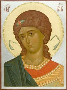 This icon of the Holy Archangel Gabriel is handpainted on a gessoed wooden board using egg tempera paints. A real masterpiece from the icon painting studio of St Elisabeth Convent! Byzantine Icons, Byzantine Art, Religious Icons, Religious Art, Saint Gabriel, Paint Icon, Russian Icons, Archangel Michael, Virgin Mary
