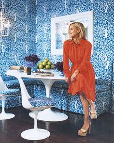 Tory Burch's Kitchen, love the China Seas fabric used on everything...