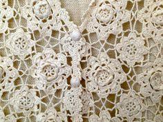 Vintage Cream Crocheted Floral Sweater Vest by WanderloveVintage