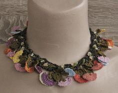 Turkish Oya necklace ribbon yarn necklaceFolkloric by Huchis