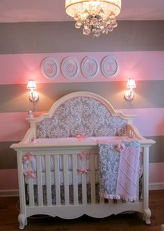 "LOVE the pink and gray damask!    ""Custom Crib Bedding and Extra Fabric Ordered for Headboard: New Arrivals Inc./Stella Gray Baby Bedding"""