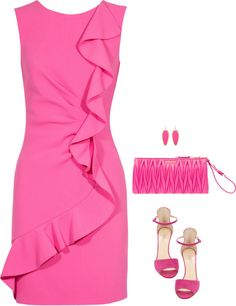 SevenRoses: Emilio Pucci, Ruffle Trim Pink Wool Stretch Dress with Flounce