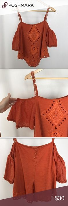 Free People Orange Blouse Re-posh! Just purchased from another posher, didn't quite fit me right! Authentic free people burnt orange Blouse size small. No signs of wear Free People Tops Tank Tops