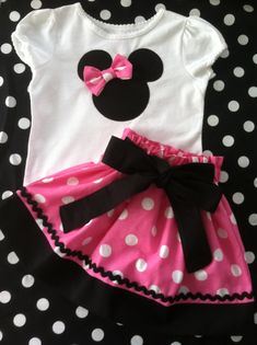 Minnie Mouse in pink and white polka dot skirt by Valentinasplace, $39.00