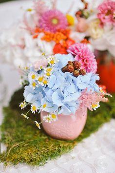 petite centerpieces, photo by L&V Photography http://ruffledblog.com/colorful-italian-wedding #flowers #hydrangea #wedding