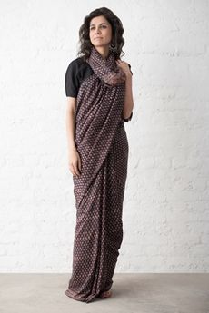 Goodearth - Ajrak Phul Buti Silk Saree