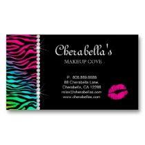 Makeup Business Card Zebra Jewelry Rainbow business cards