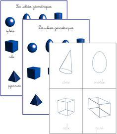 Cartes de nomenclature « solides géométriques »   Boutique ''documents Montessori''