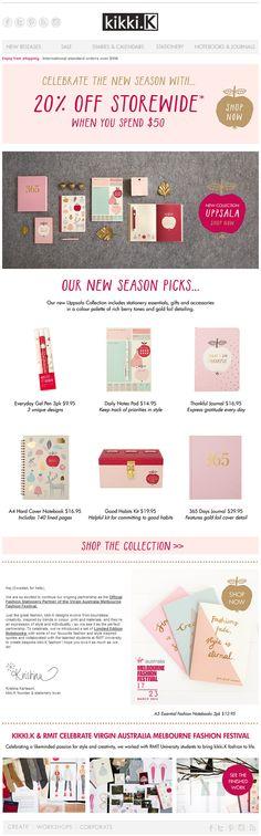 Kikki newlsetter. Pink email design Notebook www.datemailman.com