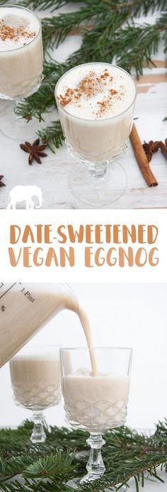 Date-Sweetened Vegan Eggnog #vegan #christmas #eggnog | ElephantasticVegan.com via @elephantasticv