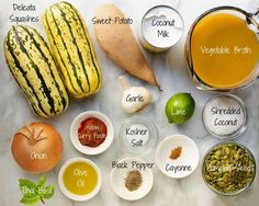 Delicata Squash Soup Ingredient Flat Lay Quick Healthy Meals, Healthy Soup Recipes, Clean Eating Recipes, Real Food Recipes, Potluck Side Dishes, Side Dishes Easy, Easy Thanksgiving Recipes, Easy Dinner Recipes, Vegan Butternut Squash Soup