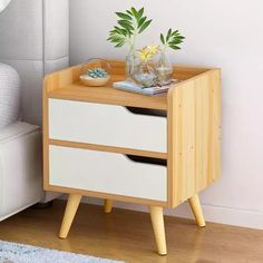 ZfgG Nightstand Bedside Cabinet Wood Bedside Table with Drawer Bedroom Storage Cabinet Locker Bed Small Cabinet (Color : Wood, Size : B) Bedside Table Design, Wooden Bedside Table, Bedside Tables, Bedroom Furniture, Home Furniture, Furniture Storage, Furniture Layout, Bedroom Storage Cabinets, Laminate Colours