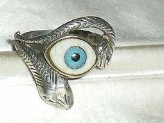 Size 'S' with large, piercing blue eye. Marked 925 silver on the substantial shank. Snake Ring, Evil Eye, Shank, 925 Silver, Piercing, Turquoise, Rings, Blue, Jewelry