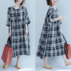 Discover thousands of images about Gray black grid dress Maxi Outfits, Casual Outfits, Modest Fashion, Fashion Dresses, Linen Dress Pattern, Handmade Dresses, Linen Dresses, Lovely Dresses, Japanese Fashion