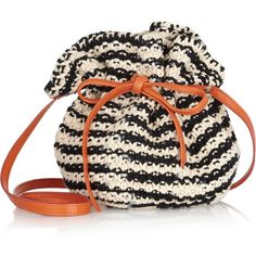 M Missoni Crochet-knit cotton and leather bucket bag  #bucketbag