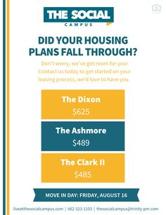 Did your housing plans fall through? That's no problem, The Social Campus has space for you! Contact us today for information on current availability, rental rates & rental qualifications. We can't wait to call you neighbor!