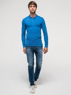 Poloshirt Napoli met lange mouwen in Victoria Blue