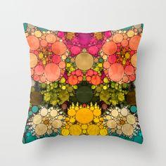 Perky Flowers! Throw Pillow - society6@etsy