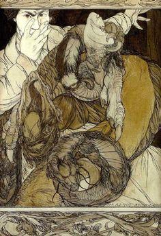Austin Osman Spare self portrait with dragon