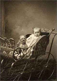 Vintage dog and baby.  Love the Pram