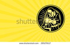 Business card showing illustration of a welder holding welding torch with visor facing front set inside circle done in retro style.