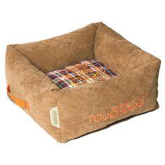 "Pet Life Exquisite-Wuff Posh Rectangular Diamond Stitched Fleece Plaid Dog Bed Size: Medium (19.7"" L x 19.7"" W), Color: Light Brown"