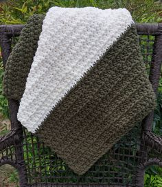 "Crochet Baby Blanket   Olive Green, Vintage White   32"" x 40""   Chunky   Soft, Thick, Warm   Machine Wash and Dry   Custom-Made   Bulky Yarn by julabethyarnworks on Etsy"