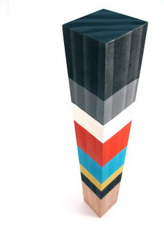 WOOD SCULPTURE TOTEMCOLORBLOCKS Reclaimed Wood by totemcolorblocks