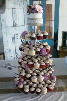 Western wildflowers cupcake tower