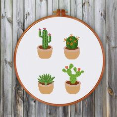 Modern cactus cross stitch pattern and cross stitch kit by ritacuna easy for beginners