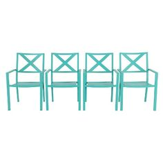 Afton 4 Pack Metal Stack Patio Chair Turquoise - Threshold™
